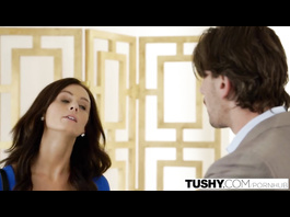 Brown haired skinny brunette Whitney Westgate sucks big dick and enjoys doggystyle anal fuck