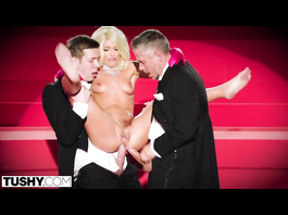 Steaming sexy blonde Adriana Chechik satisfies three young guys