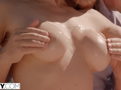 Ginger chick and her blonde girlfriend are sucking one cock and enjoying anal threesome