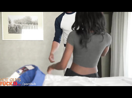 Skinny black girl enjoys interracial hardcore with white dude