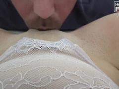 Strong muscled dude tastily sucks shaved pussy before having hardcore fuck