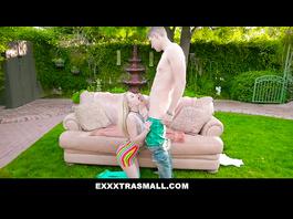 Stunning hot young blonde chick sucks big dick outdoors on backyard