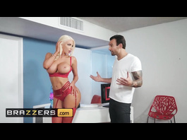 Burning hot blonde with big tits and bubble butt Nicolette Shea fucks on red couch