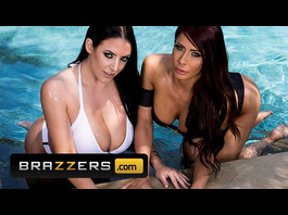 Busty brunette lesbian girlfriends Angela White and Madison Ivy are fucking in shower