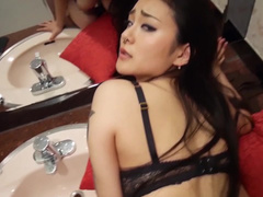 Tender sexy Japanese girl rides and sucks big white dick