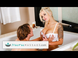 Busty tight blonde chick hotly fondles her stepson and fucks hard in bathroom