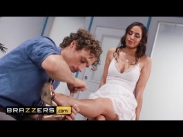 Wonderful brunette Desiree Dulce got horny about curly guy and fucked him
