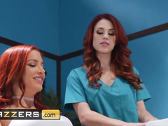 Two burning sexy lesbian chicks are excitingly licking off at dentist's office