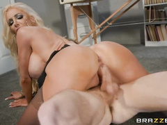 Luxurious blonde slut with big tight boobs Nicolette Shea gets fucked hard